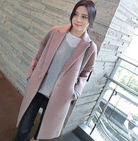 Пальто шерсть+хлопок цвет пудра