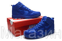 5739feeb Мужские высокие кроссовки Nike Dunk CMFT Premium Navy Найк Данк синие, фото  2