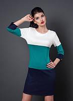Женское комбинированное платье 46,48р., фото 1