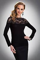 Женская нарядная облегающая блуза черного цвета с гипюром. Модель Haidi Eldar.