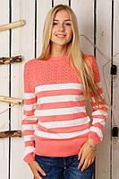 Полосатый коралловый вязаный свитер