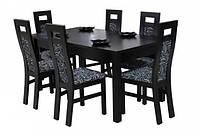 Стол из массива бука раскладной +для гостиной/кухни Модерн Плюс 160(+40+40)х90х75 (орех)