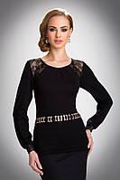 Женская блуза с гипюром черного цвета. Модель Hilary Eldar.