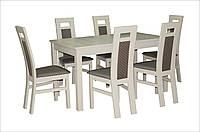 Фабричный стол из бука для ресторанов/кафе/баров Модерн 140(+40)х80х75 (белый, бежевый)