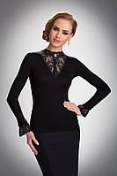 Женская нарядная блуза с кружевом черного цвета. Модель Rosa Eldar.