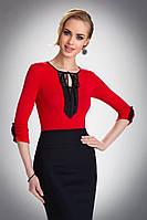 Женская нарядная блуза красного цвета с черным кружевом. Модель Taylor Eldar.