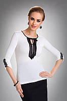 Женская нарядная блуза цвета экри с черным кружевом. Модель Taylor Eldar.
