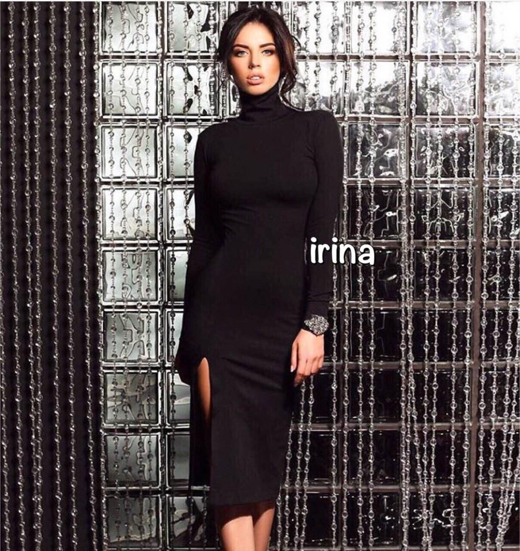 2fd2c4ad457 ... Стильное трикотажное платье миди с высокой горловиной с разрезом черное