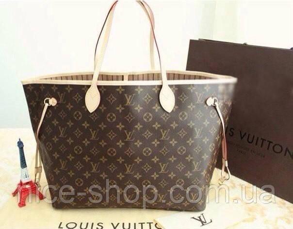 Сумка Louis Vuitton Neverfull Меdium кожа, монограмм классика