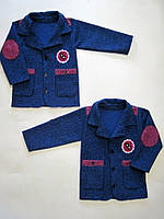 Пиджак теплый для мальчика, трикотажный драп. р.р.30-38