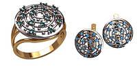 Красивый золотой ювелирный набор из кольца и сережек одного дизайна