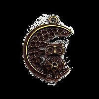 Подвеска Сова на луне, бронза