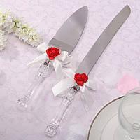 Нож и лопатка для торта с бантиками