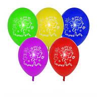 """Воздушные шарики пастель  шелкография Свинка Пеппа 10"""" (25 см)"""