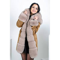 Женская куртка парка с натуральным мехом из песца