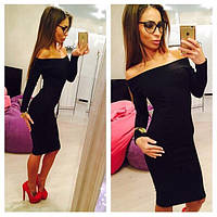 Стильное платье миди со спущенными плечами, черное