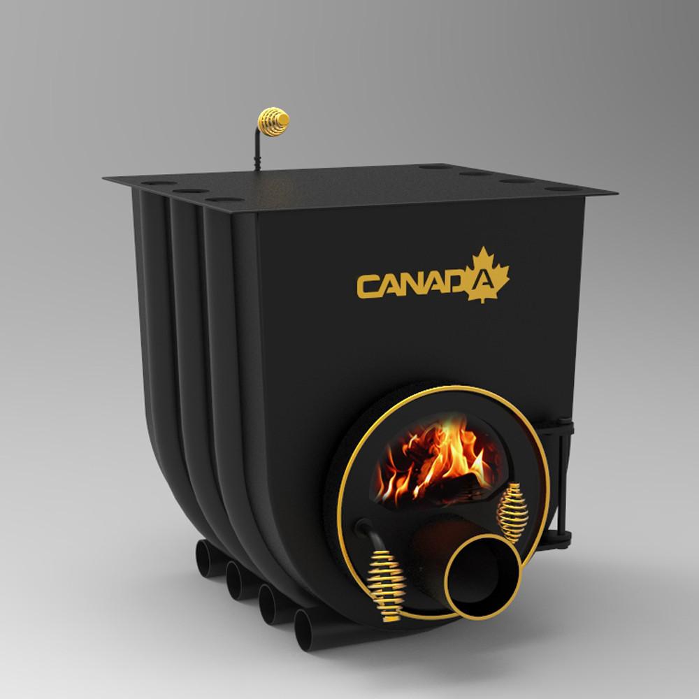 """Булерьян""""Canada"""" печь стальная с варочной плитой и жаростойким стеклом мощностью 28 кВт"""