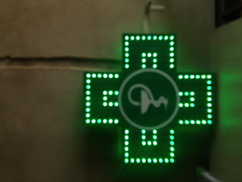 Изготовили другой светодиодный аптечный крест для Черкас.