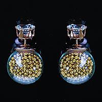 [15/8 мм] Cерьги матрешка Dior страза стекло с наполнителем золотые гранулы
