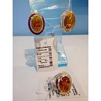Благородный ювелирный набор с янтарем из серебра с напайками золота