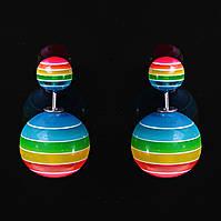 [15/8 мм] Cерьги матрешка Dior разноцветная полоска луга