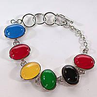 [20 см] Браслет женский Леденцы 7 разноцветных камней овал на Тогл