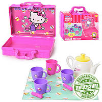 Посуда 1680663   HK,чайный сервиз на 3персоны,чайник,сахарница,чашки 3шт,в чемодане,26-21-9см