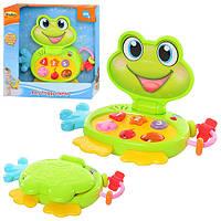 Игра 8001-07   детский ноутбук Занятой лягушонок,муз,зв ,свет,на бат-ке, в кор-ке,29-28-7см