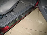 Накладки на пороги Daewoo Nexia 2 (2008->) (Nat) Premium