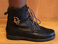 Ботинки женские зимние кожаные на низком ходу, кожаная женская обувь зима от производителя модель НБ2