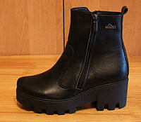 Ботинки женские зимние на толстой подошве, зимние кожаные ботинки от производителя модель НБ3, фото 1