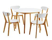 Комплект кухонный белый (обеденная группа из стола круглого белого + 4 стула белых)