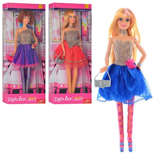 Кукла DEFA 8259  30см, подставка, сумочка, 3 вида, в кор-ке, 13-32,5-5,5см