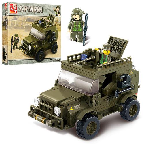 Конструктор SLUBAN M38-B0299  армия, военная машина, фигурки, 221дет, в кор-ке, 29-24-5,5см