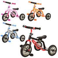 Велосипед M 0688-2 (4шт) три колеса EVA, красн, оранж, малинов, голуб,