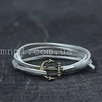 Кожаный браслет на руку с якорем белый