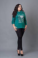 Модная женская кофточка бирюзового цвета увеличенных размеров