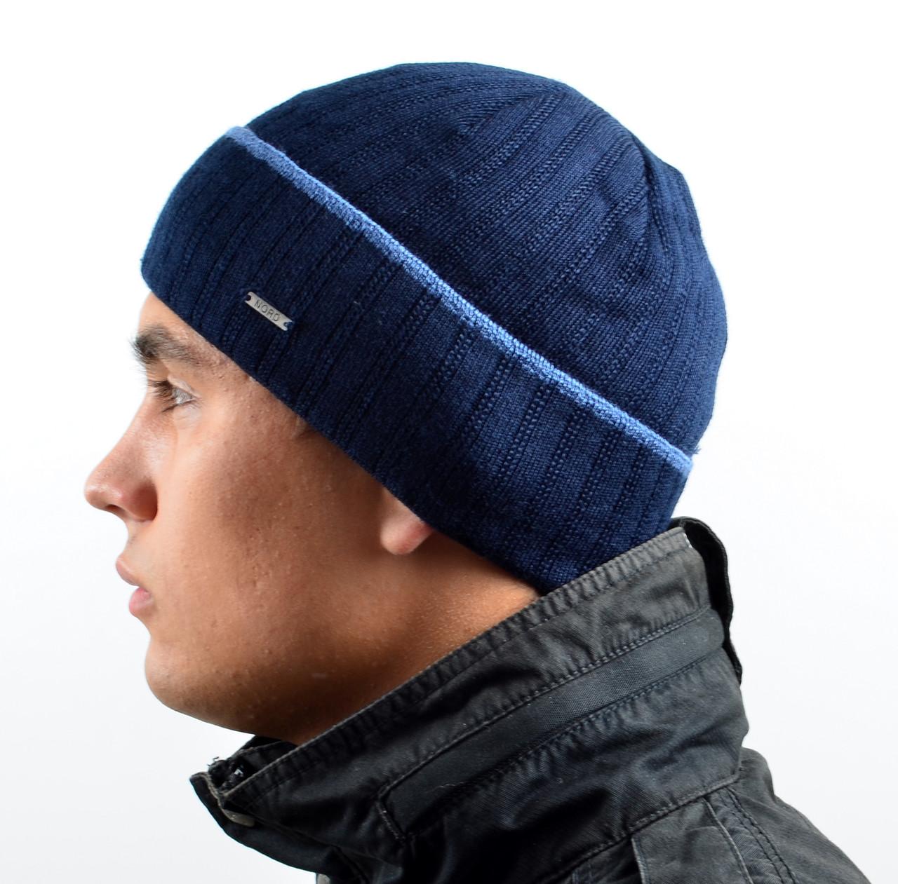 Мужская вязаная шапка Nord на флисе