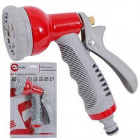 Пистолет-распылитель для полива 8-ми функциональный (центральный, туман, душ, угловой, полный, проливной дождь, конический, плоский.) ABS, PP,TPR,Zinc