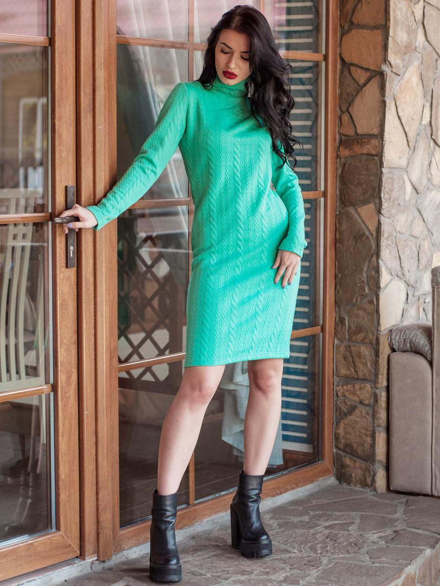 """Теплое стильное платье-гольф """"Косичка"""" 50.52"""