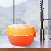 """Контейнер с крышкой, ложкой и вкладышем """"Апельсин"""", 1,2л, Размер: 10х13 см"""