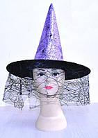 Шляпа ведьмы с вуалью (фиолетовая) 170216-373
