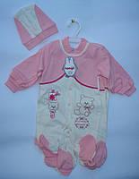 Комбез, человечек на кнопках и шапка, для новорожденных, розовый, для девочек, 0-3, 3-6, 6-9 мес