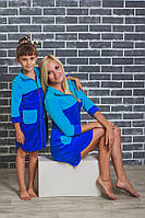 Халат для девочки велюровый синий, фото 1