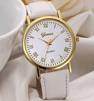Кожаные женские часы Женева белые