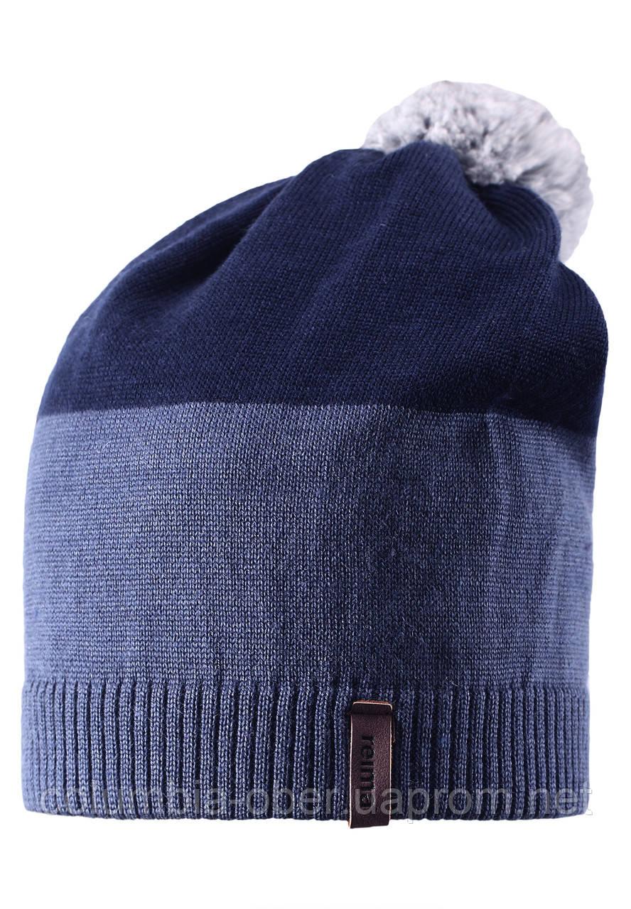 Зимняя шапка с помпоном для мальчика Reima 528497-6760. Размер  54-56.
