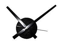 Часовой механизм черный с большими черными стрелками 30см