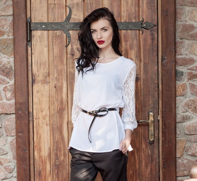 Біла жіноча блузка з шифону, блузка біла з гіпюром