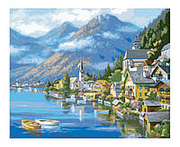 По номерам картина. Альпийская деревня