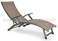 Шезлонг садовый ,пляжный,для СПА из текстилена  RELAX  200х58см  черный ,бежевый